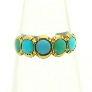 Antique 10k Gold Blue Turquoise Baby Child's Ring